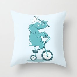 Elephant Racer Throw Pillow