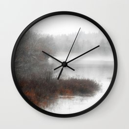 Foggy lake on a winter day - Nature Photography Wall Clock