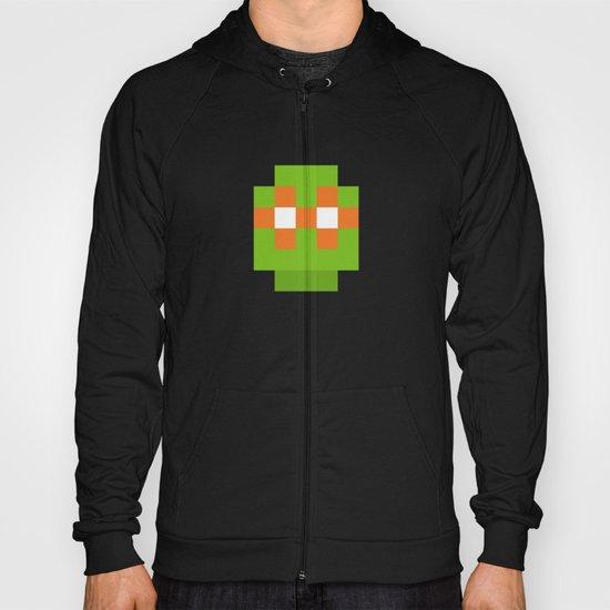 hero pixel green orange Hoody