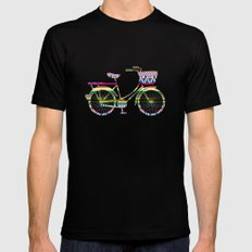 Bicycle with Tribal Pattern MEDIUM Black Mens Fitted Tee