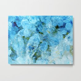 Blue Crystal Geode Art Metal Print