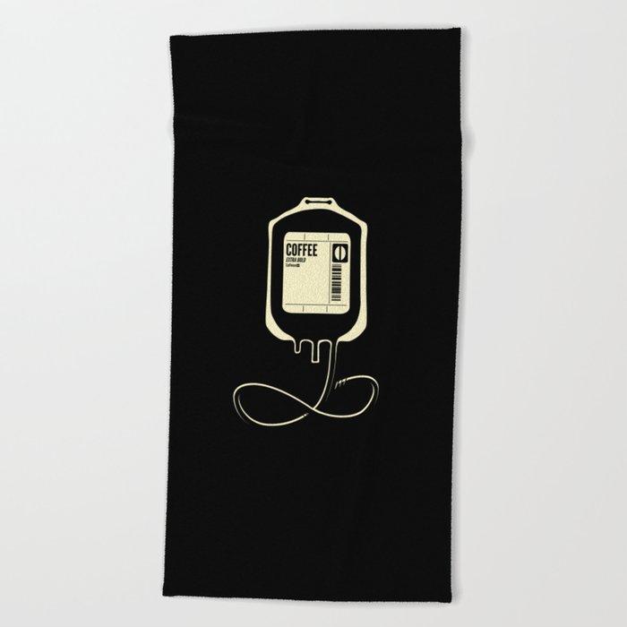Coffee Transfusion - Black Beach Towel