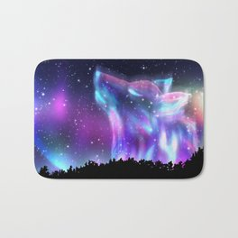 Northern landscape with howling wolf spirit and aurora borealis Bath Mat
