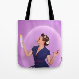 """Planning"" - The Playful Pinup - Polka Dot Dress Pinup Girl by Maxwell H. Johnson Tote Bag"