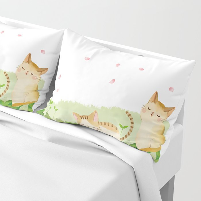 Funny Cats Singing under Cherry Blossoms Pillow Sham
