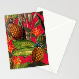 Vintage & Shabby Chic - Hot Summer Pineapple Tropical Flower Garden Stationery Cards