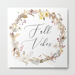 Fall Vibes Wreath Metal Print