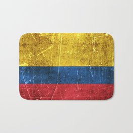 Vintage Aged and Scratched Colombian Flag Bath Mat