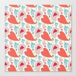 Paisley and Hearts Summer Pattern Canvas Print
