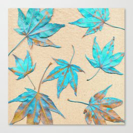 Japanese maple leaves - turquoise and gold on unbleached paper Canvas Print