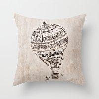ballon Throw Pillows featuring Hot Air Ballon by violart