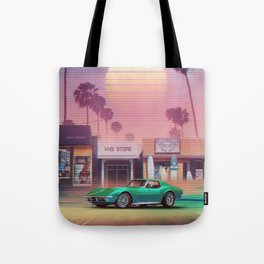 Synthwave Sunset Drive Tote Bag
