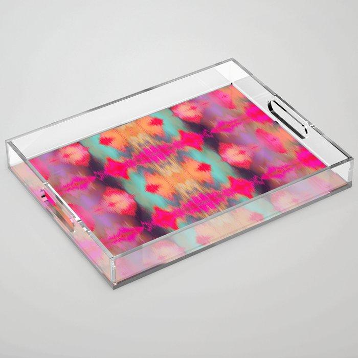 Watercolor Ikat Acrylic Tray
