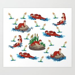 Otter Love of Otters Art Print