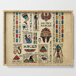 Egyptian hieroglyphs and deities on papyrus Serving Tray