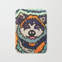 Larry Designer Dog Series Puppy Colorful Bright Huskey Eskimo Sleddog Siberian Chinook Breeds Bath Mat