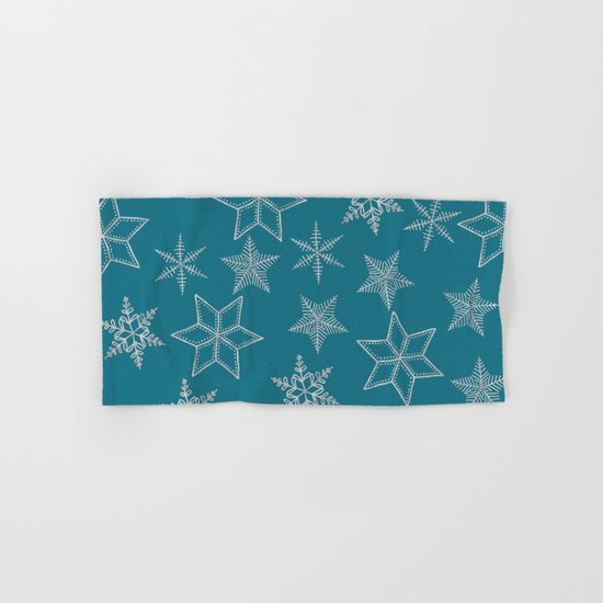 Silver Snowfakes On Teal Background Hand & Bath Towel
