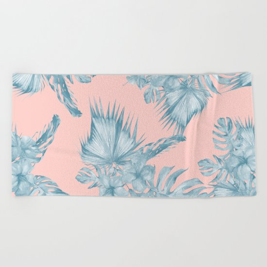 Dreaming of Hawaii Pale Teal Blue on Millennial Pink Beach Towel