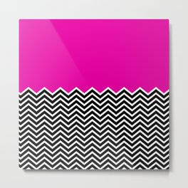 Flat Pink and Classic Chevron Metal Print
