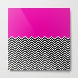 Flat Pink and Classic Chevron Metal Print