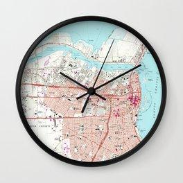 Vintage Map of Corpus Christi Texas (1968) Wall Clock
