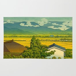 Kawase Hasui Vintage Japanese Woodblock Print Beautiful Mountain Valley Farmland Yellow Hues Rug