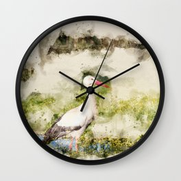 Stork in Pond Watercolor Wall Clock