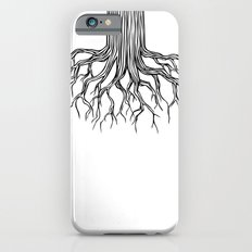 Tree Root Drawing (black on white) iPhone 6s Slim Case