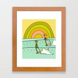 follow the light rainbow sunrise daydream hang 10 Framed Art Print