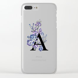 Letter 'A' Anemone Flower Typography Clear iPhone Case