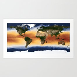 A Portrait of Global Sea Surface Temperatures Art Print