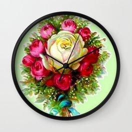 Retro Vintage Rose Bouquet Wall Clock