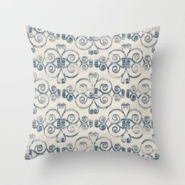 Wooden Diamond Scrolled Ikat Pattern - Cream Navy Throw Pillow