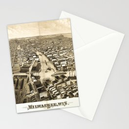 Aerial View of Milwaukee, Wisconsin (1879) Stationery Cards