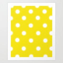 Yellow & White Polka Dot Art Print