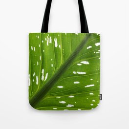 Spotted with White: Leaf Tote Bag