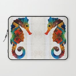 Colorful Seahorse Art by Sharon Cummings Laptop Sleeve