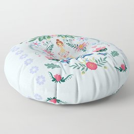 Fairy Tale Folk Art Garden Floor Pillow