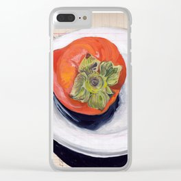 Persimmon on a Plate in Gouache Clear iPhone Case