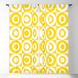Mid Century Square and Circle Pattern 541 Yellow Blackout Curtain