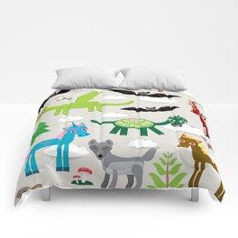magic pattern with funny dragon bats unicorn horse deer bird wolf. illustration Comforters