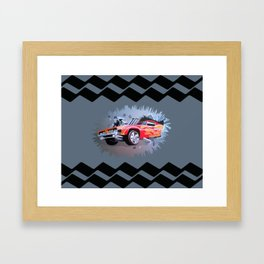 Hot Wheels Car Crashing Through Grey Wall Framed Art Print