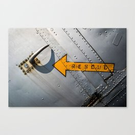 Airplane Metal Rescue Sign Canvas Print