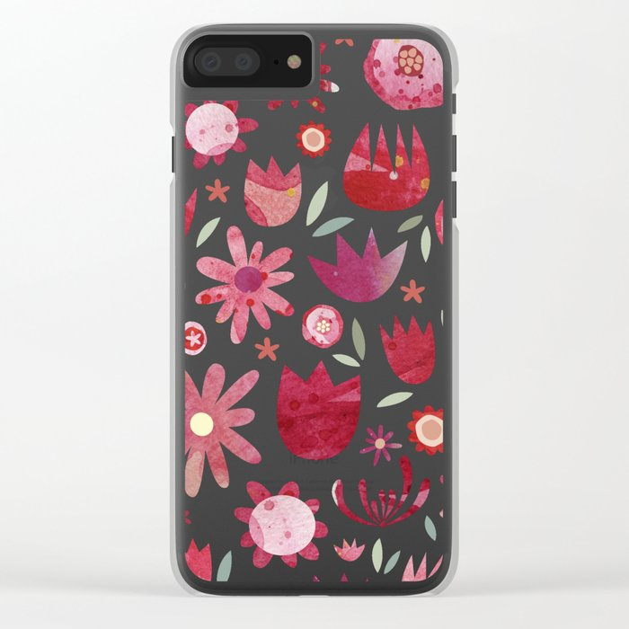 Summer Flowers Watercolor Clear iPhone Case