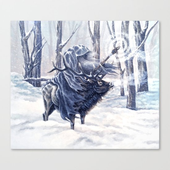 Magical Wizard Riding an Elk in the Snow Canvas Print