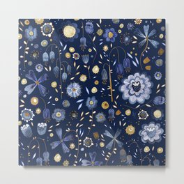 Indigo Flowers at Midnight Metal Print