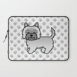 Cute Gray Cairn Terrier Dog Cartoon Illustration Laptop Sleeve
