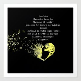 Laughter Cascades from Her Cinquain Art Print