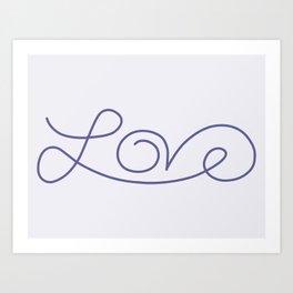 Love calligraphy print - Smokey purple with pale purple background Art Print