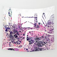 london map Wall Tapestries featuring LONDON Skyline + map by Map Map Maps